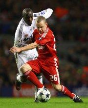 Jay Spearing w meczu Liverpool - Real Madryt